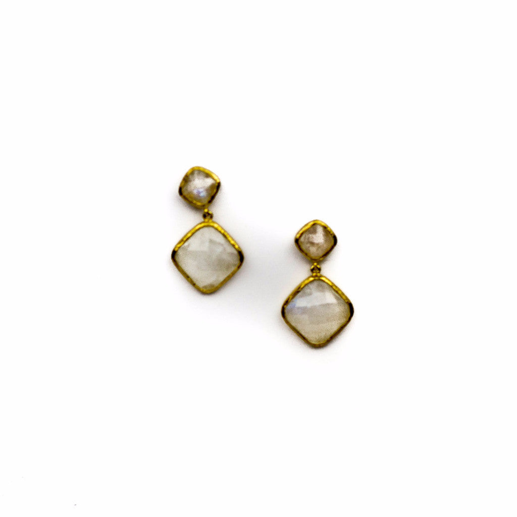 18k gold vermeil square drop earrings with rainbow moonstone
