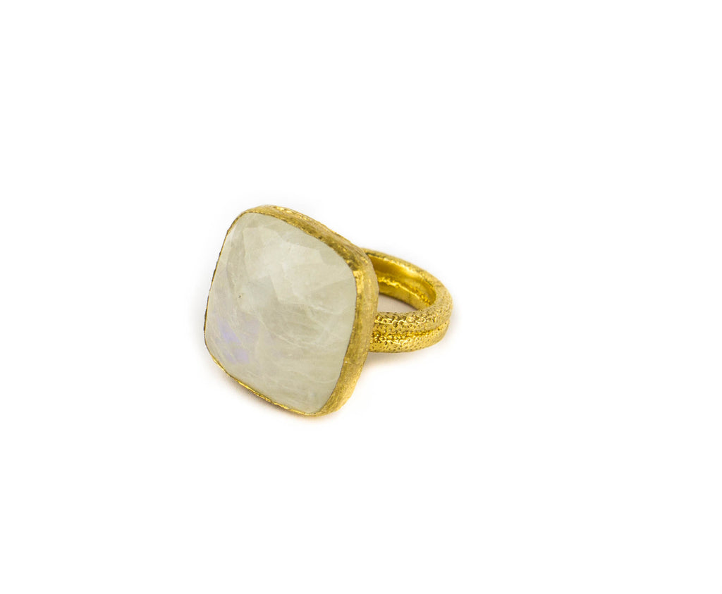 Rainbow Moonstone and Gold Vermeil Ring by Mia Lara, perfect for being both bold and elegant.