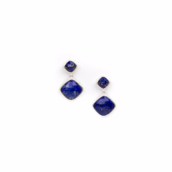 sterling silver square drop earrings with lapis