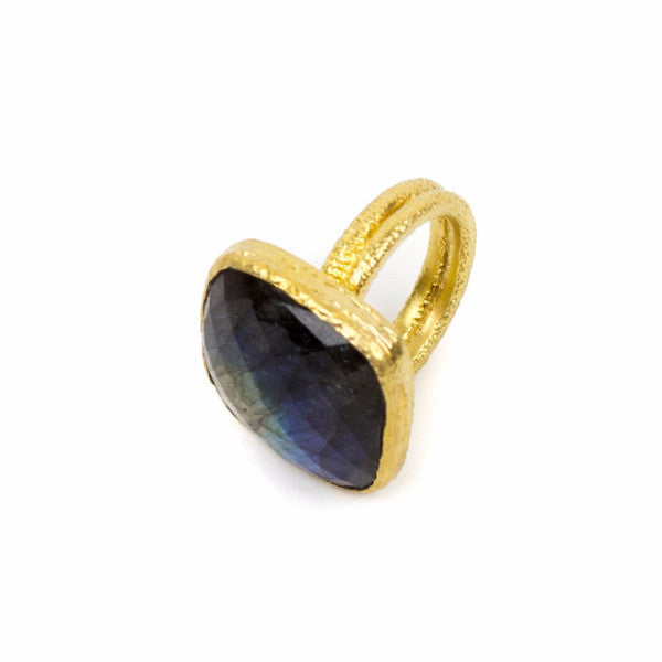 18k gold vermeil double band ring with labradorite