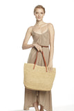 Raffia and Leather tote bag by Mar Y Sol, a classic and timeless way to get your stuff from A to B