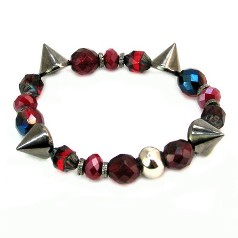 Gothic Red Mix Studded Bracelet