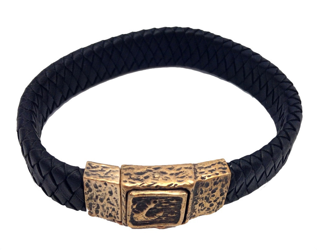 "Mens Leather ""Travellers Coin"" Bracelet"