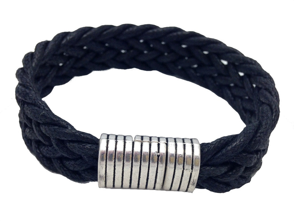 Mens Black Braided Bracelet