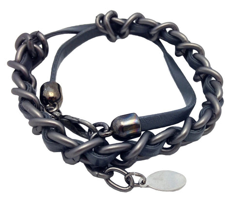 Mens Leather & Chain Wrap Bracelet