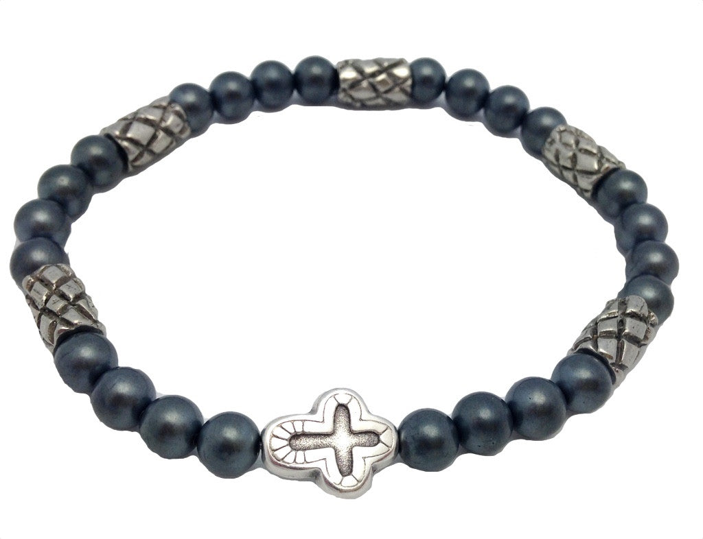Mens Grey Cross Bracelet