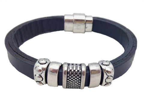 Mens Grey Leather Bracelet