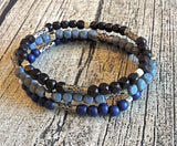 Men's Royal Blue Wooden Beaded Stretch Bracelet
