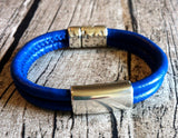 Mens Royal Blue Leather Bracelet w/Silver Magnetic Clasp
