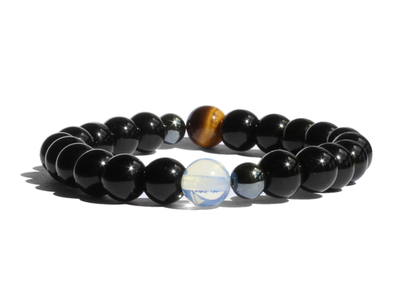 Citystate Beads Black Agate with Opalite and Tiger Eye