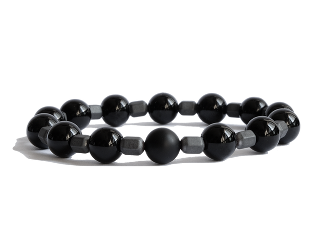 Citystate Beads Black Agate with Matte Hematite Charm