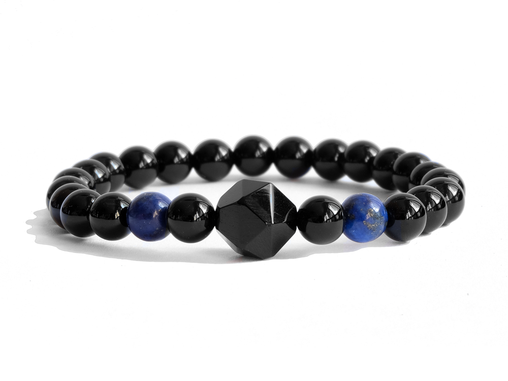 Citystate Beads Black Agate with Lapis Lazuli Charm