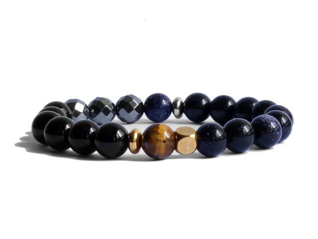 Citystate Beads Gold Blue Goldstone Bead Bracelet