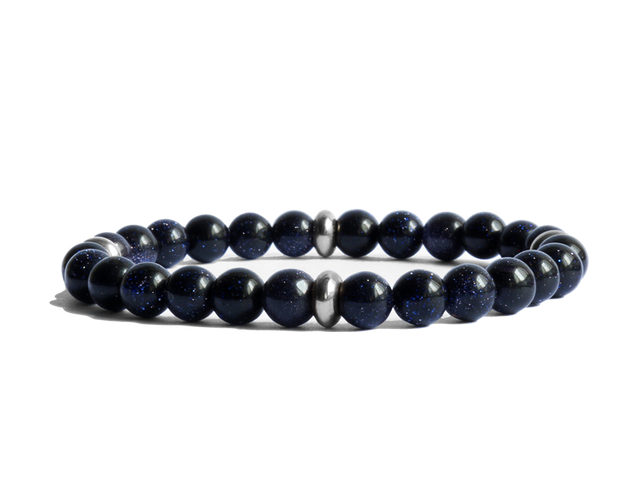 Blue Goldstone with Stainless Steel Spacer Bracelet