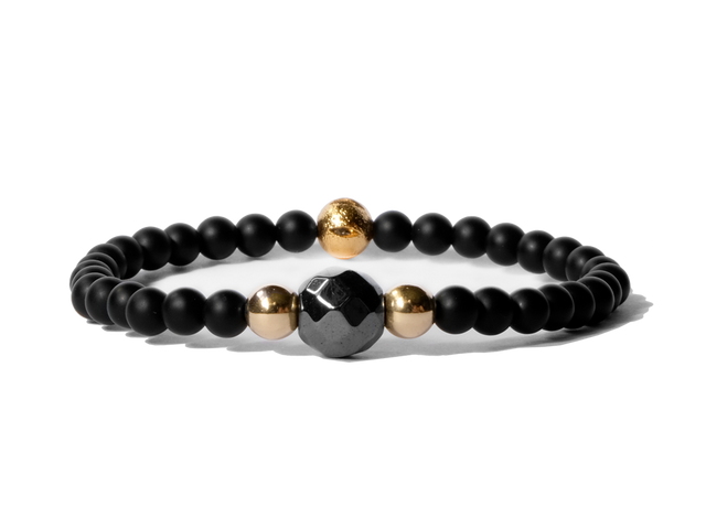 Citystate Beads Onyx Gold Plated Charm Faceted Hematite Bracelet