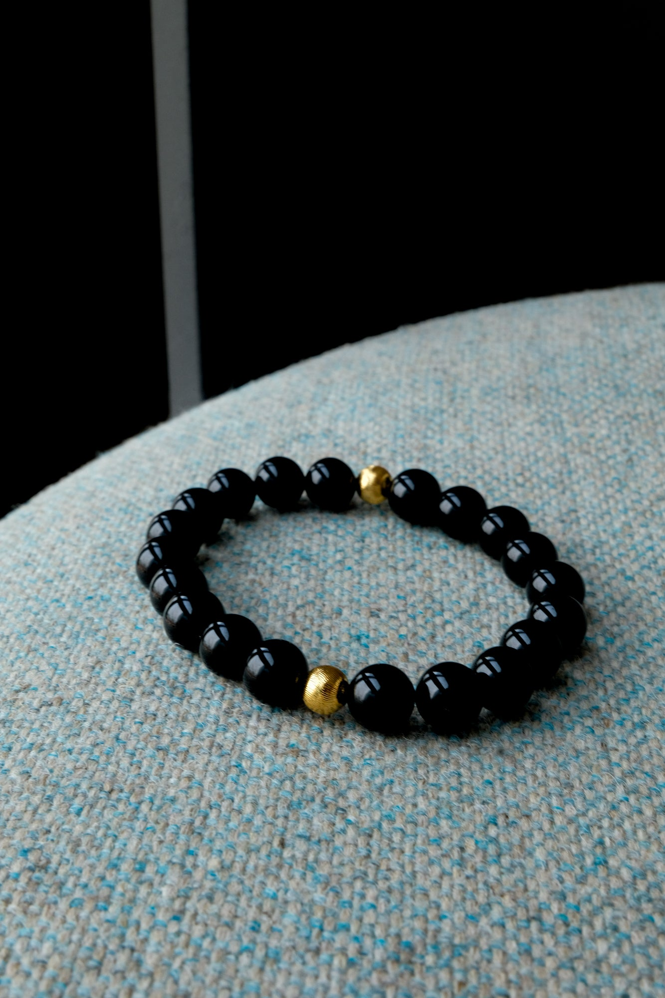 Citystate Beads Black Agate with Gold Swirl Charm Bracelet