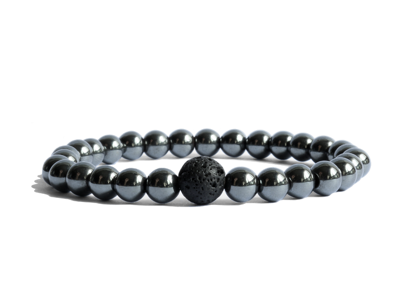 Citystate Beads Small Hematite with Onyx Bracelet