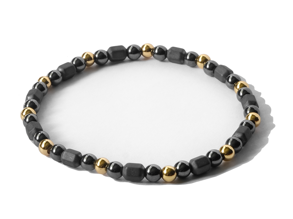 Citystate Beads Small Hematite Bracelet With Gold Charm Bracelet
