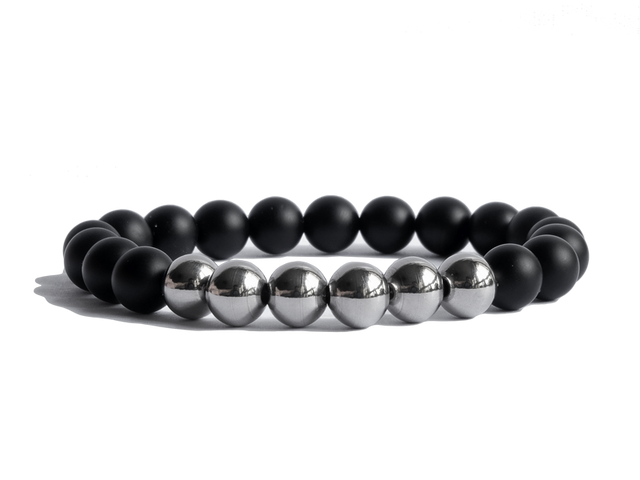 Citystate Beads Onyx Stainless Steel Charm Bracelet