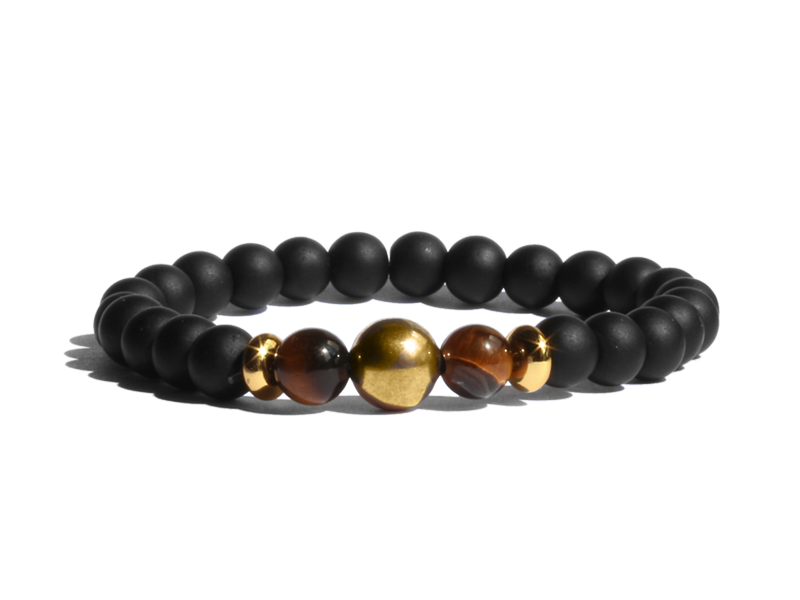 Citystate Beads Onyx Tiger Eye Gold Charm Bracelet