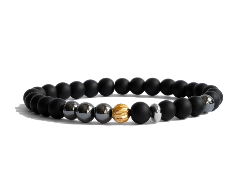 Citystate Beads Onyx Gold Plated Charm Stainless Steel Bracelet
