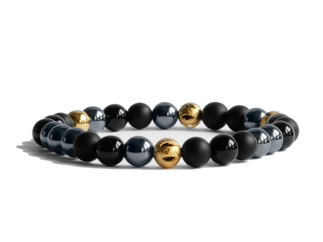 Citystate Beads Black Agate with Hematite and Gold Plated Charm