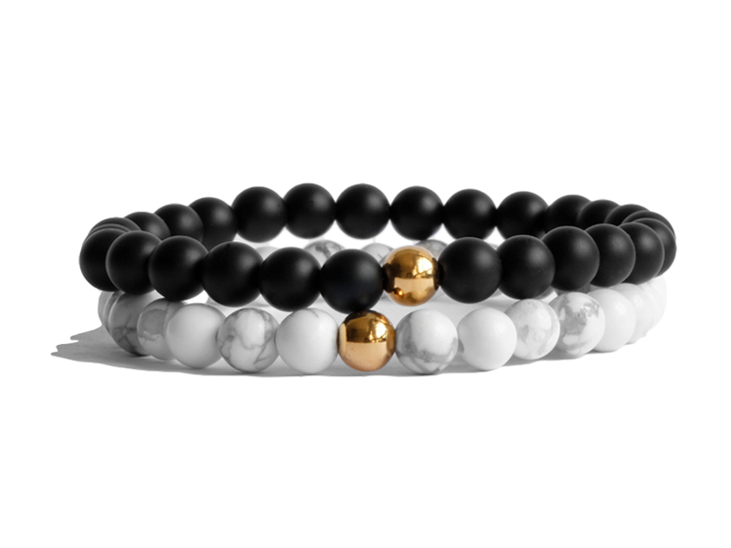 Citystate Beads Stacker Pack Gold Plated Howlite & Onyx Bracelet