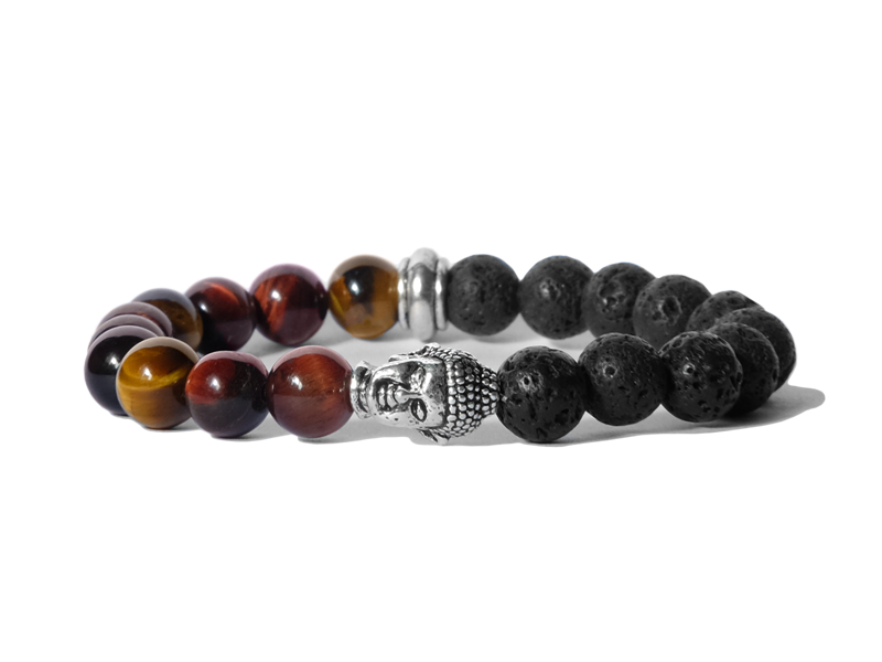 Citystate Beads Mixed Tiger Eye Stainless Steel Buddha Charm Bracelet