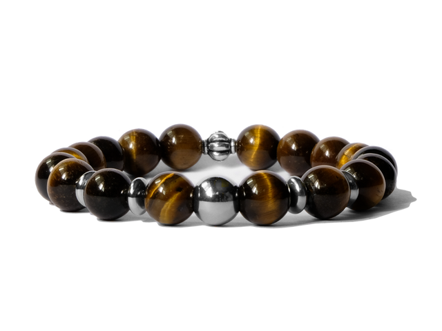 Citystate Beads Yellow Tiger Eye Stainless Steel Charm Bracelet