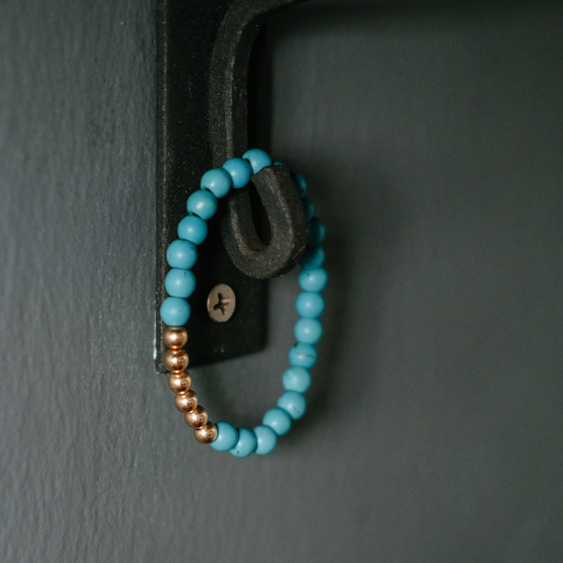 Gold Turquoise Howlite Bead Bracelet by Citystate