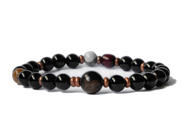 Citystate Beads Black Agate with Brown Obsidian and Copper Spacers Bracelet