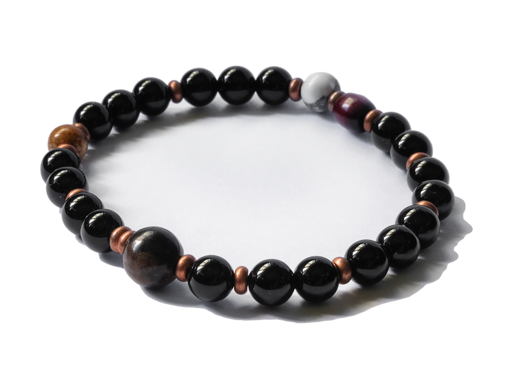 Citystate Beads Black Agate with Brown Obsidian and Copper Spacers