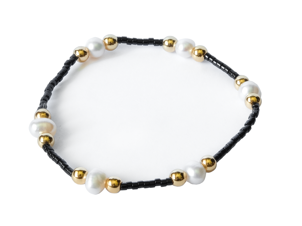 Citystate Beads Black Seed Pead Pearl Gold Charm Bracelet