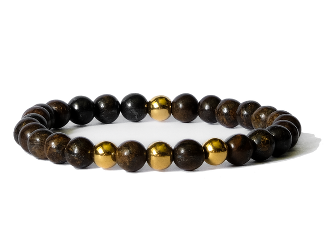 Citystate Beads Bronzite with Gold Plated Charm Bracelet