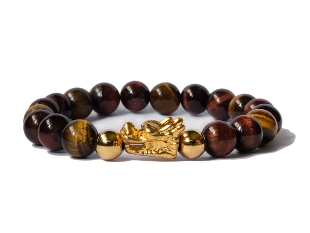 Citystate Beads Tiger Eye Gold Dragon Bracelet