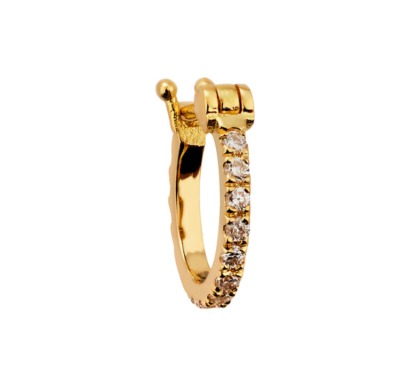 Nuran Earring - yellow gold, white diamonds