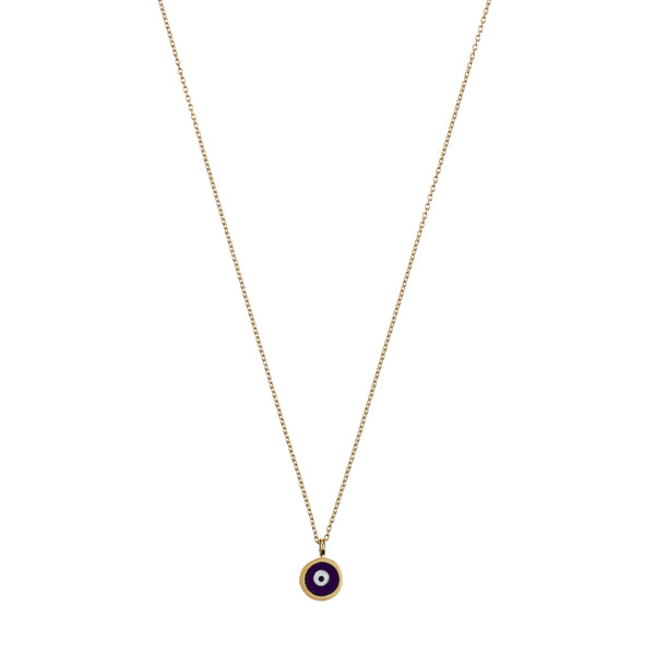 Didem Necklace - yellow gold, navy enamel eye