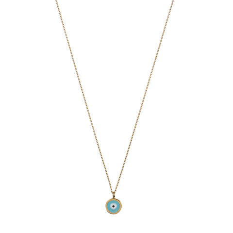 Didem Necklace - yellow gold, turquoise enamel eye