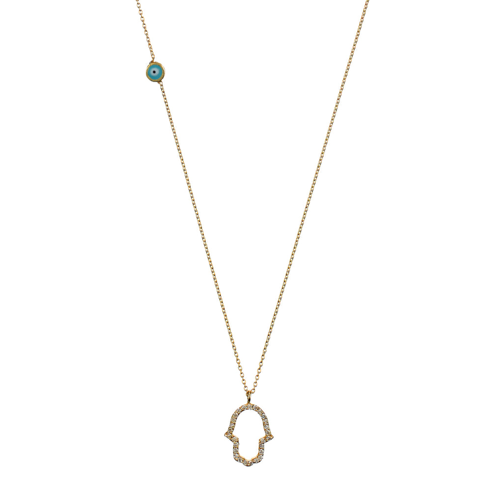 Hamra Necklace - yellow gold, white diamonds
