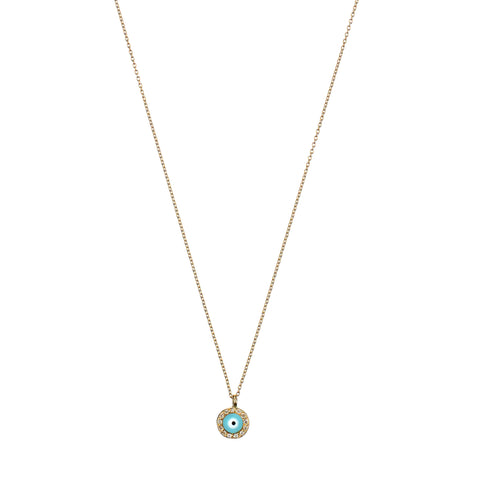 Handan Necklace - yellow gold, turquoise enamel eye