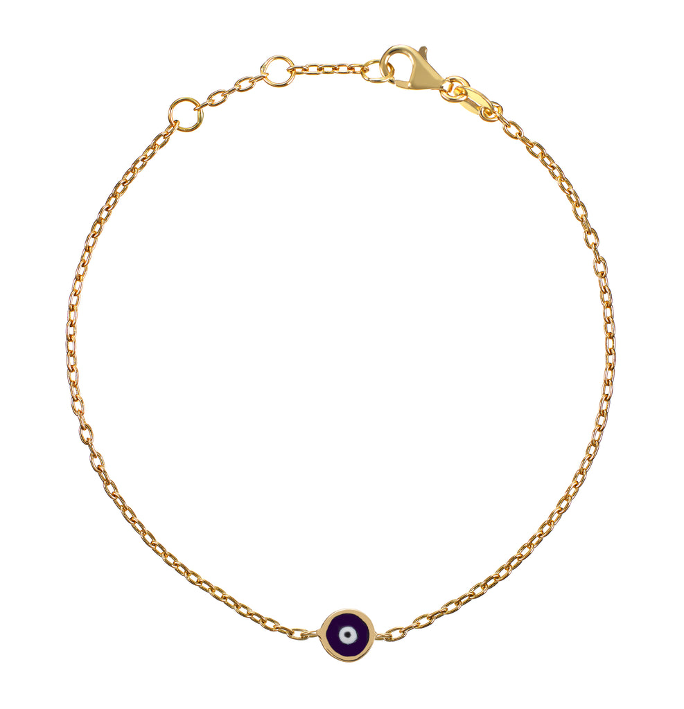 Didem Bracelet - yellow gold, navy enamel eye