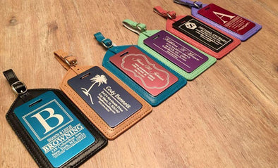 Personalized Aluminum Luggage Tags with Genuine Leather Casing -  - Qualtry