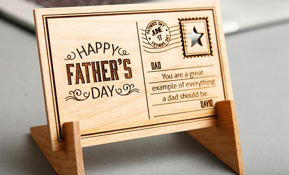 Father's Day Personalized Wooden Postcards -  - Qualtry