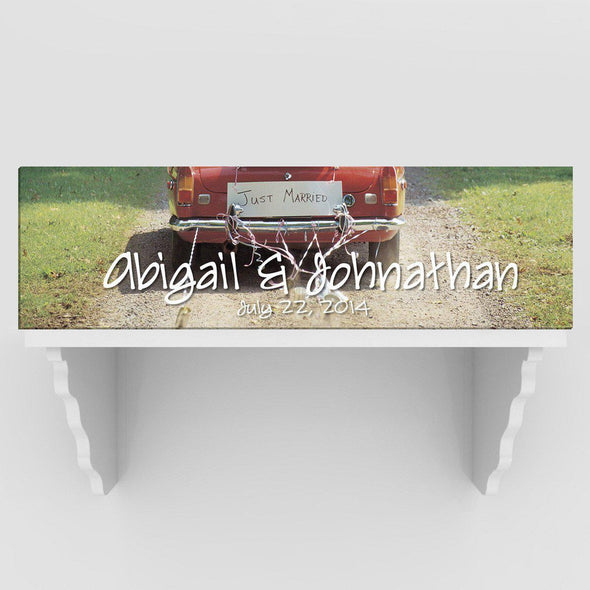 Personalized Just Married Canvas Sign - Black/White or Color - Full Color - JDS