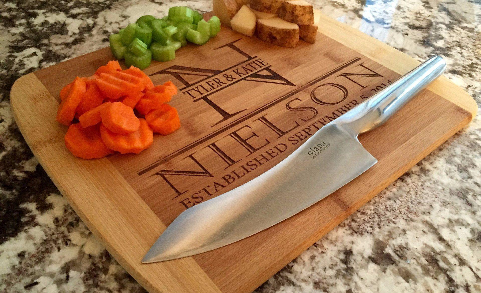 Personalized 11x14 Bamboo Cutting Board with Rounded Edge