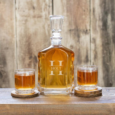 Custom Decanter with 2 Whiskey Glasses - Stamped - JDS