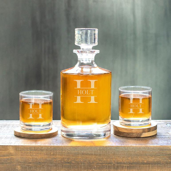 Kingsport Personalized Decanter Set with 2 Whiskey Glasses - 30 oz. - Stamped - JDS