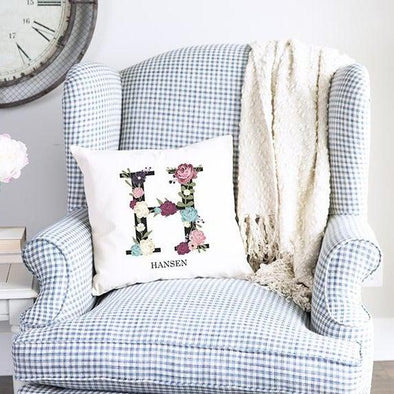 Personalized Floral Alphabet Throw Pillow Covers -  - Qualtry