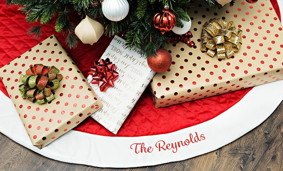 Personalized Red Velvet Quilted Christmas Tree Skirt