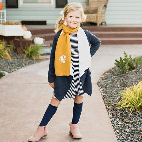 Personalized Children's Knit Scarves - Mustard - Qualtry